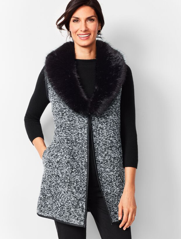 Fur-Trim Boucle Vest