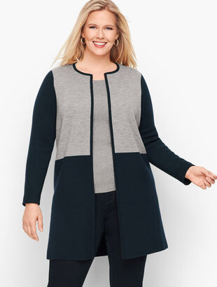 Merino Blend Colorblock Sweater Jacket