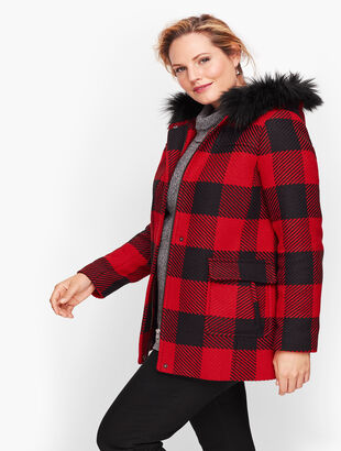 Faux Fur Trim Wool Jacket - Buffalo Check