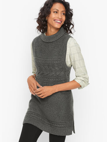 Cable Knit Funnel Neck Sweater Vest