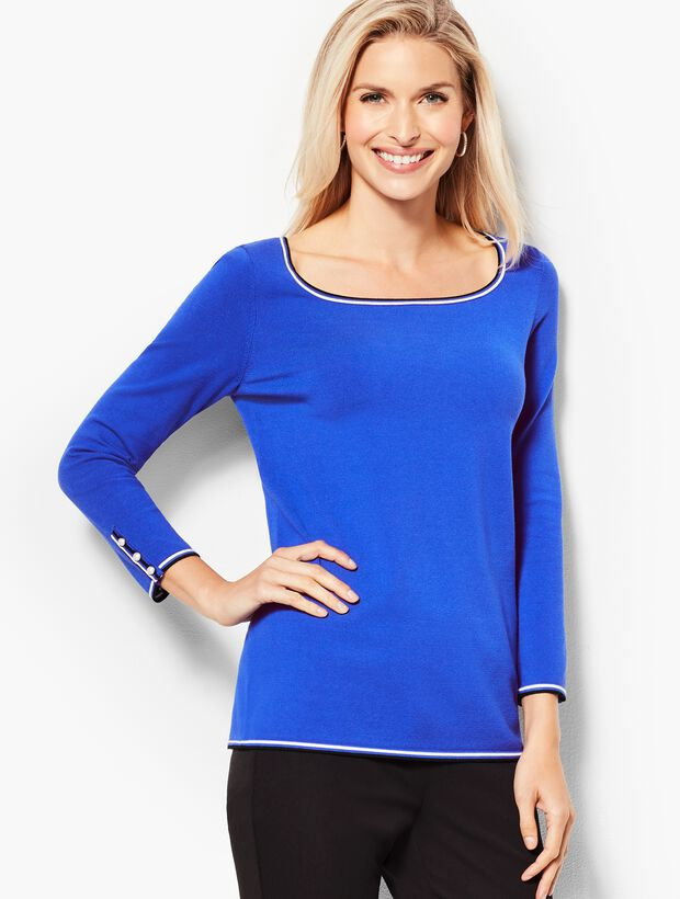 Three-Quarter-Sleeve Tipped Button-Cuff Sweater