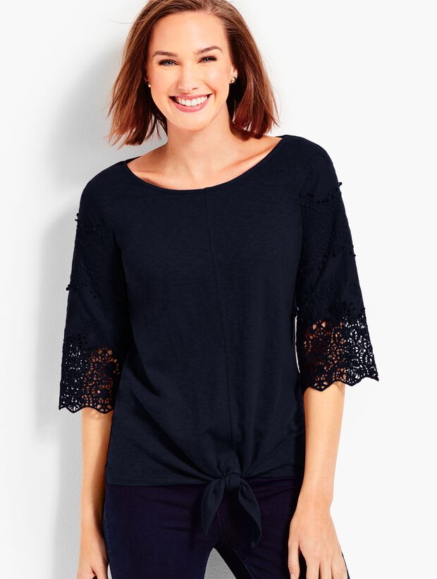 Lace-Sleeve Tie-Front Tee