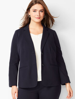Plus Size Italian Luxe Knit Two-Button Blazer