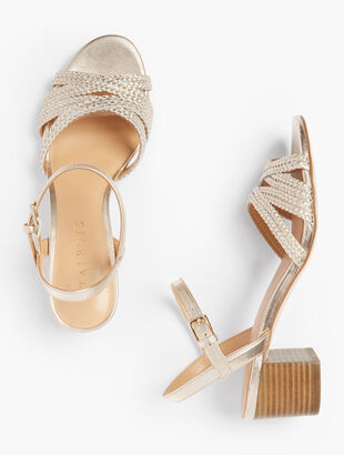 Mimi Braided Cross-Strap Sandals - Metallic