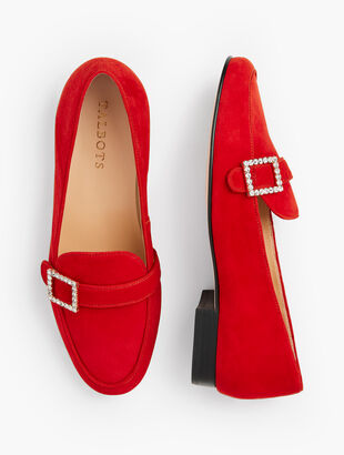 Cassidy Jewel Buckle Loafers - Suede