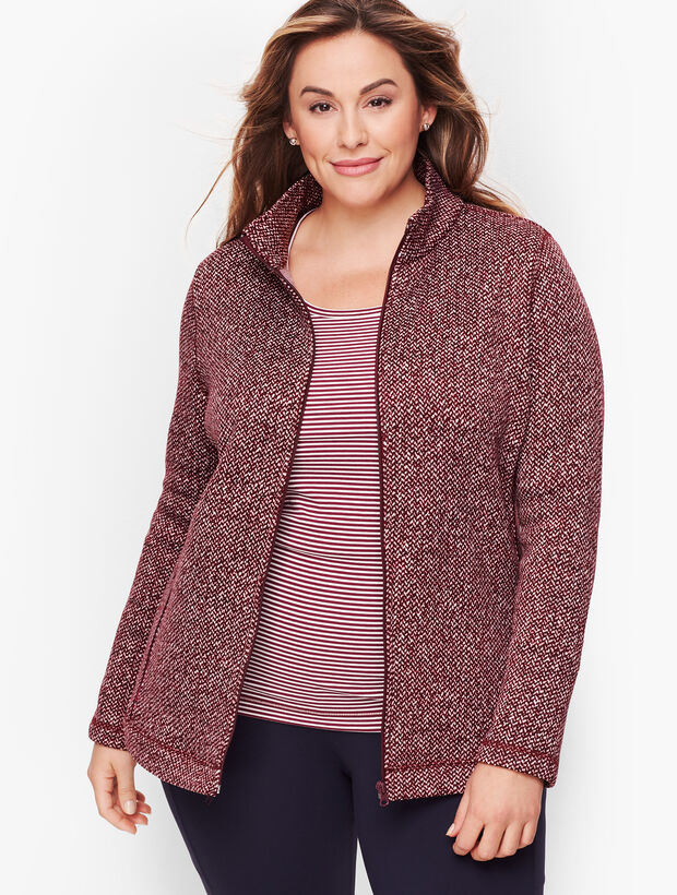Textured Knit Herringbone Jacket