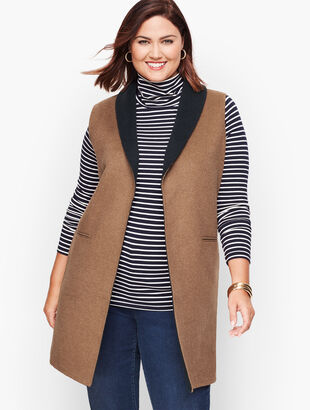 Plus Size Double Face Shawl Collar Vest