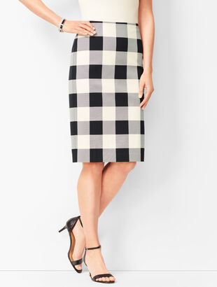Twill Gingham Pencil Skirt
