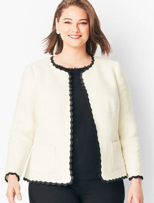 Cotton Tweed Scallop-Edge Jacket