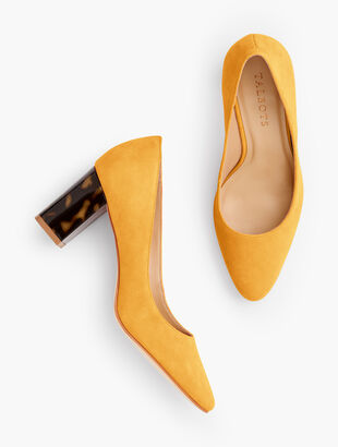 Kelsey Block-Heel Pumps - Suede