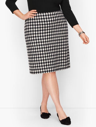 Wool Blend A-Line Skirt - Check