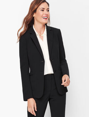 Stretch Crepe Two-Button Blazer