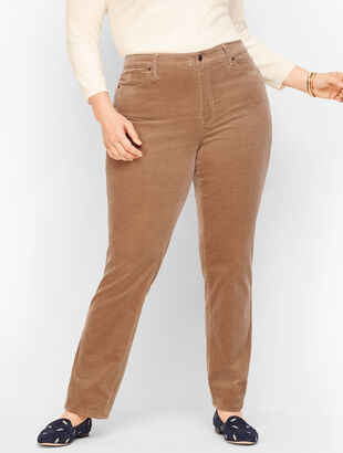 Stretch Corduroy Straight Leg Pants