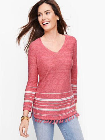 Linen Tassel Trim Sweater