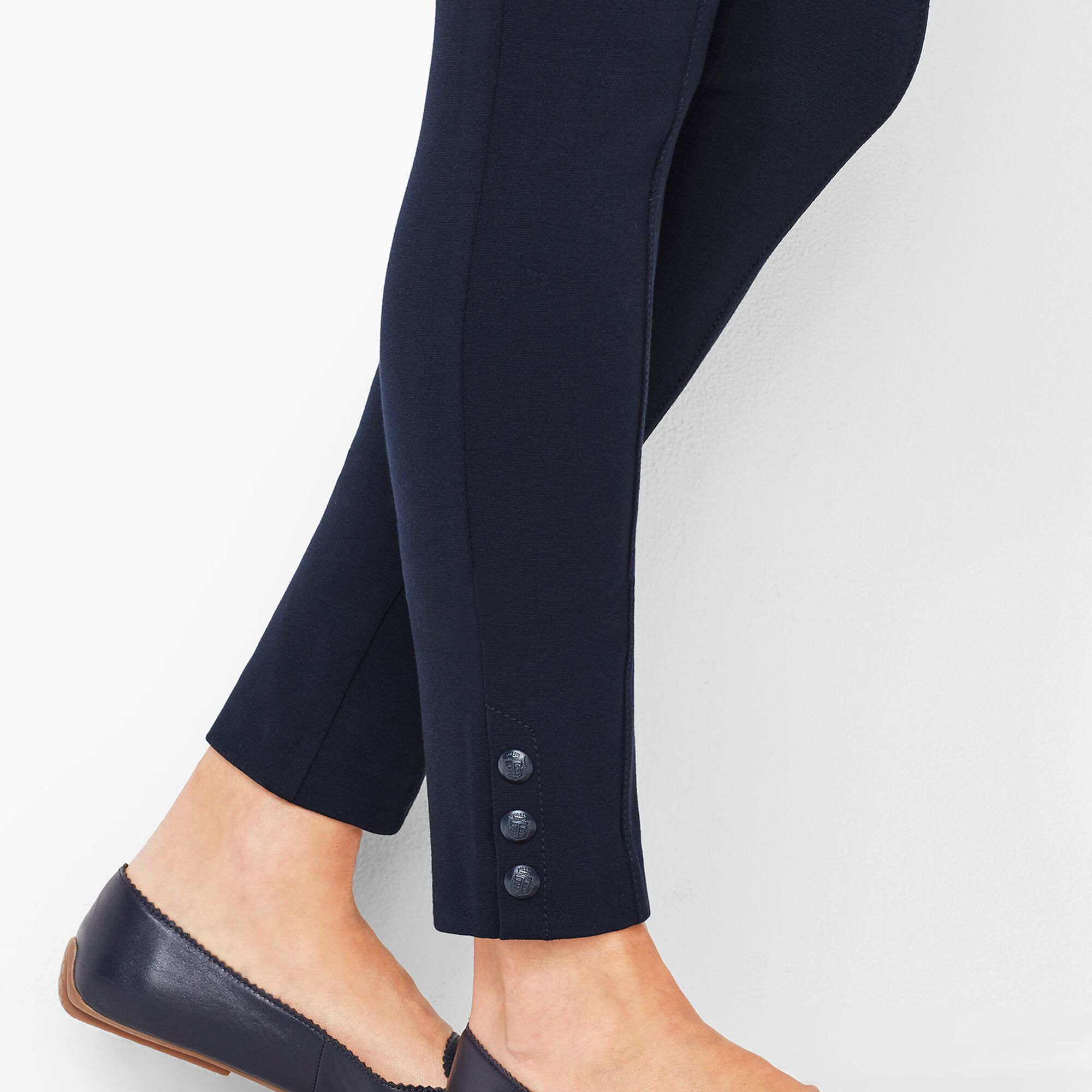 dcfd3b6add01b2 Ankle-Snap Ponte Leggings - Solid Opens a New Window.