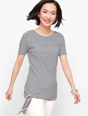Side Tie Ribbed Top - Stripe