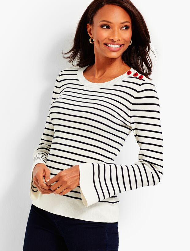Button-Shoulder Sweater-Stripe