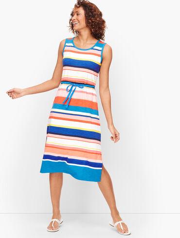 Belted Stripe Midi Dress