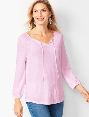 Gathered Tie-Neck Top - Solid