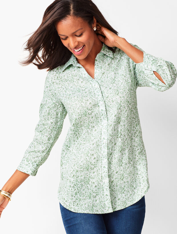 Button-Back Linen Tunic - Batik Floral