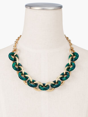 Marbled Resin Short Links Necklace