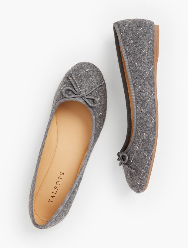 Penelope Quilted Ballet Flats - Charcoal Grey Flannel