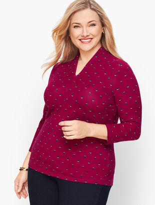 Platinum Jersey High Neck Top - Dot