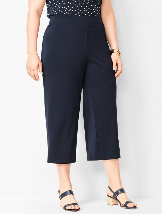 Plus Size Knit Jersey Wide-Leg Crops
