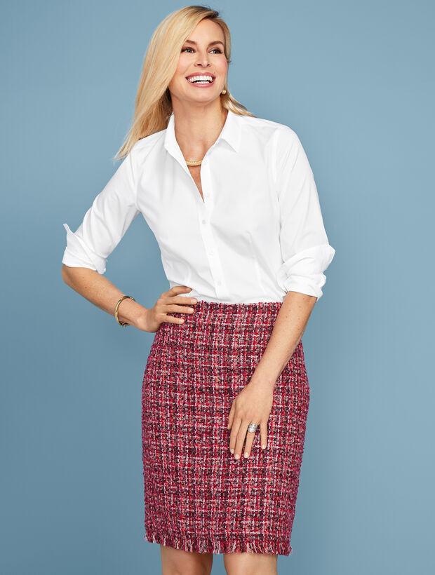 Tweed Fringe-Hem A-Line Skirt