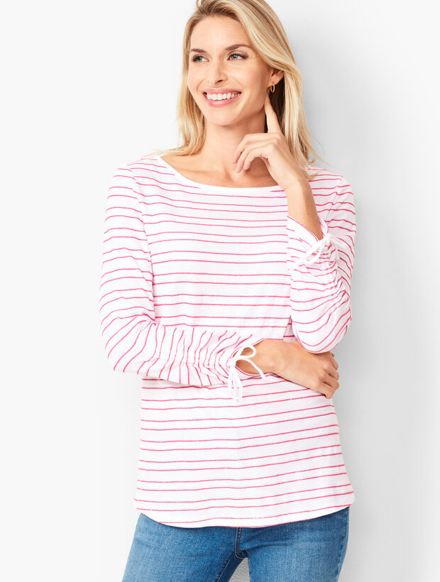 Textured Ruched-Sleeve Tee