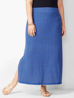 Plus Size Knit Jersey Geometric Maxi Skirt