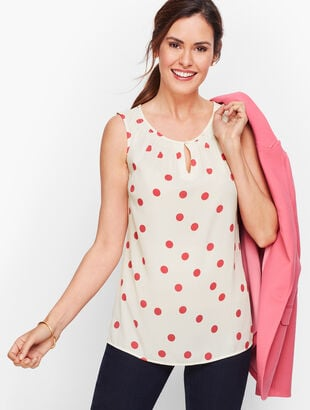 Smock Neck Shell - Scattered Dot