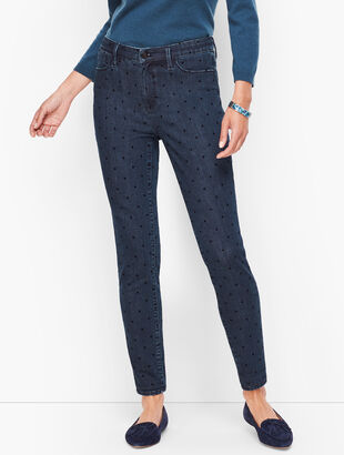 Jeggings - Dark Wash Velvet Dot