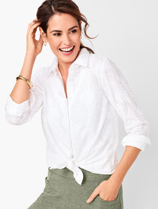 Classic Cotton Shirt - Embroidered Leaves