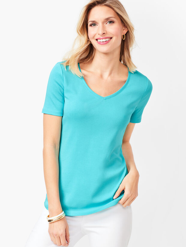 d0668f77d3 Pima Cotton V-Neck Tee | Talbots