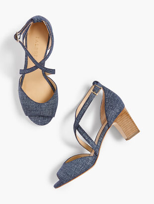 Gisela Cross-Strap Sandals - Sueded Denim