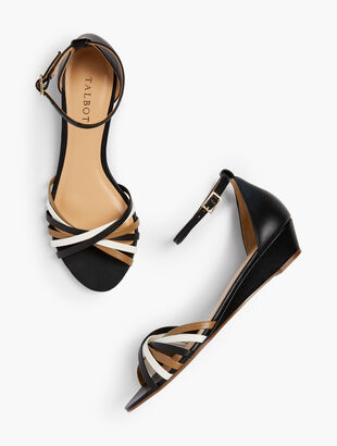 Capri Twist-Strap Wedge Sandals - Nappa Leather