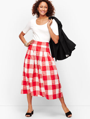 Pleated Gingham Full Skirt