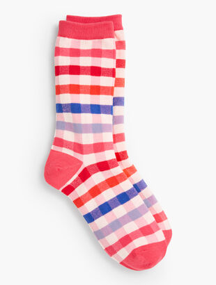 Bright Plaid Trouser Socks