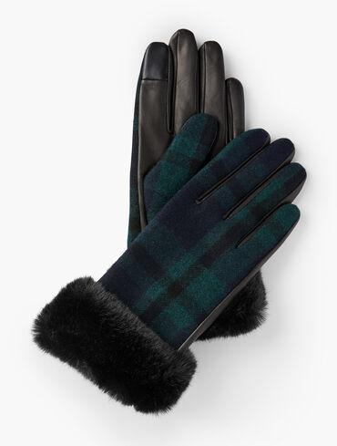 Faux Fur Trim Black Watch Plaid Leather Gloves