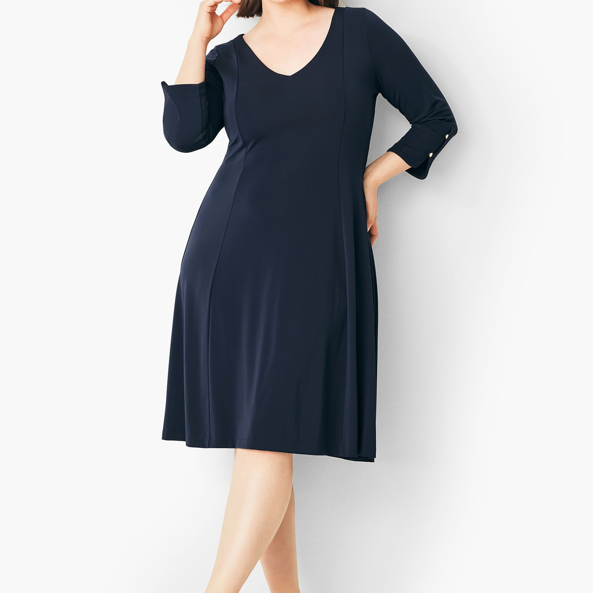Plus Size Matte Jersey Fit-and-Flare Dress | Talbots