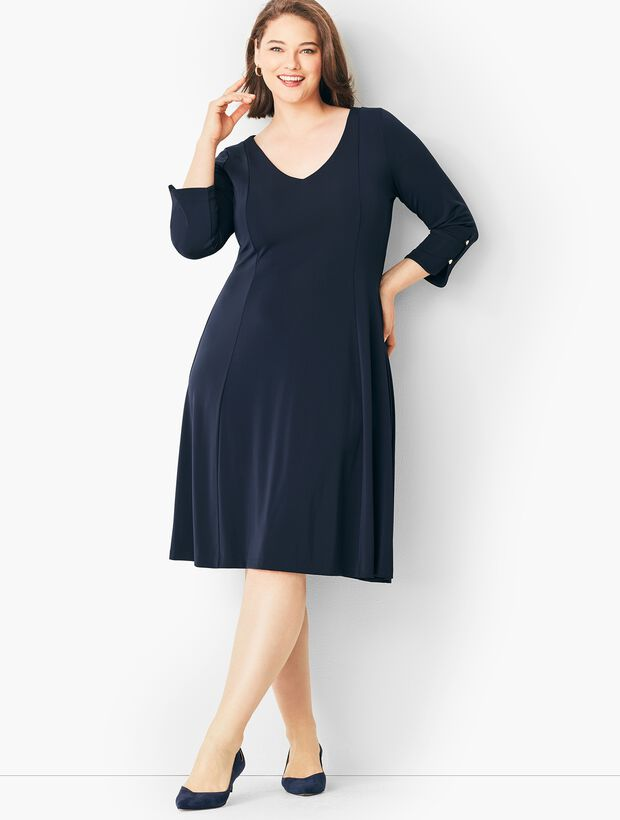 Plus Size Matte Jersey Fit-and-Flare Dress