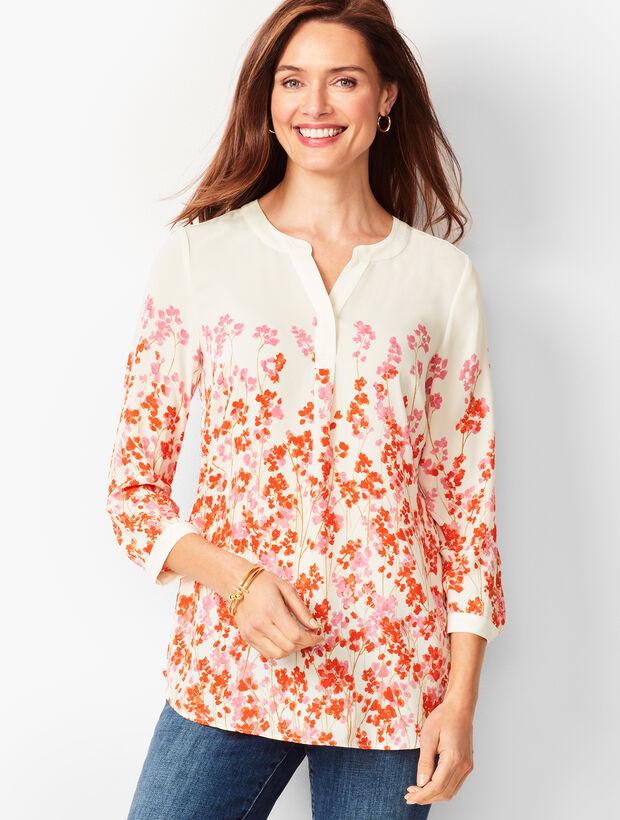 Banded Collar Popover - Pastel Floral