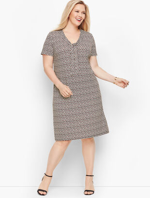 Knit Jersey Tie Neck Shift Dress - Floral