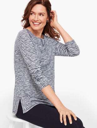 Side Zip Raglan Stripe Pullover