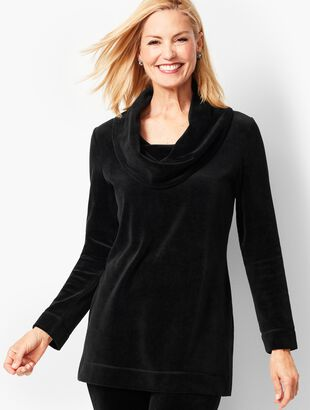 Luxe Velour Cowlneck Pullover