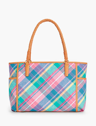 a3fa639fdae Madras Plaid Rope-Handle Tote