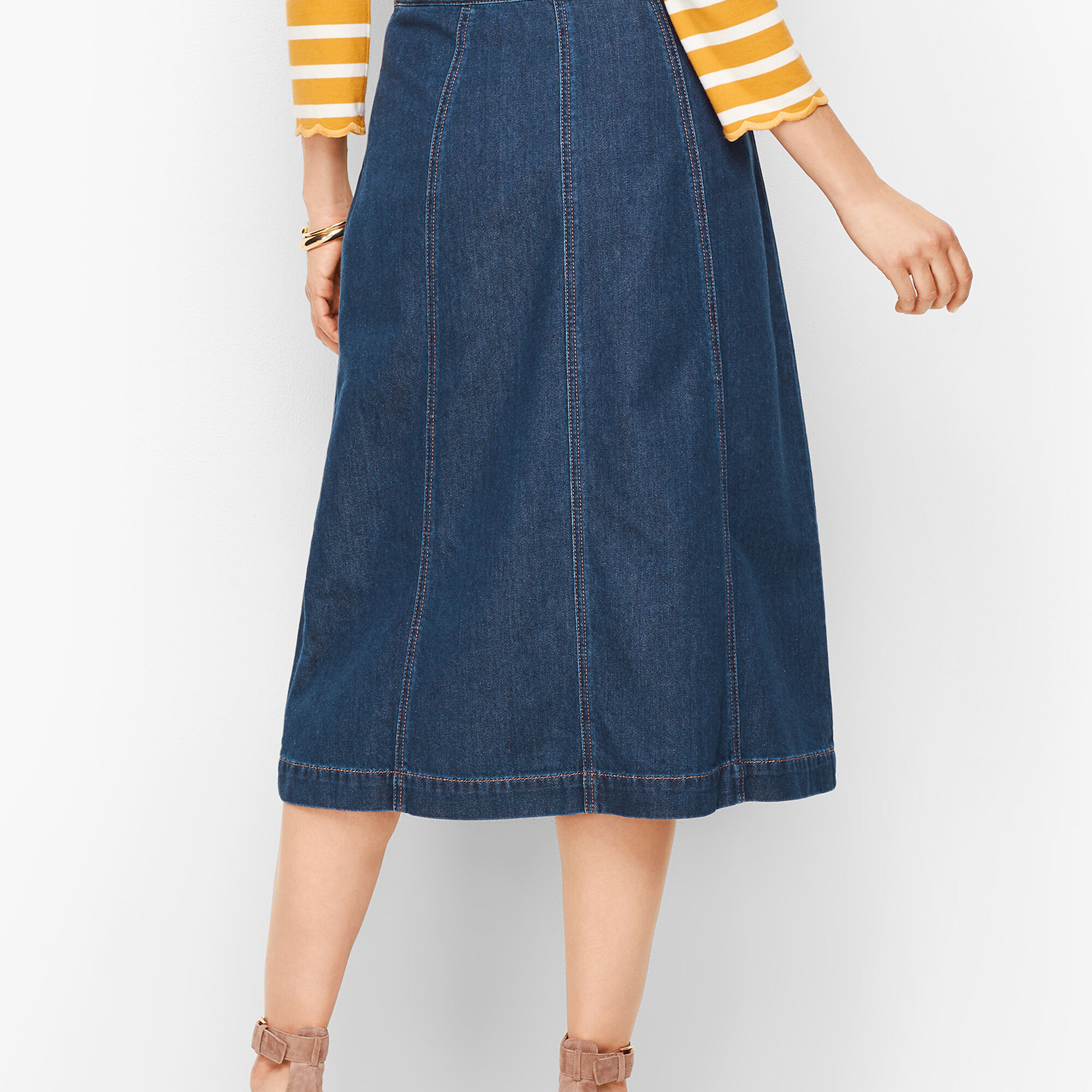 Denim A Line Midi Skirt