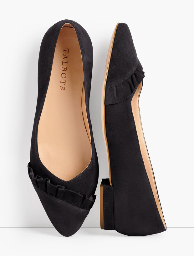 Edison Pleated Flats - Suede