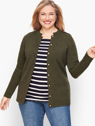 Merino Blend Military Sweater Jacket
